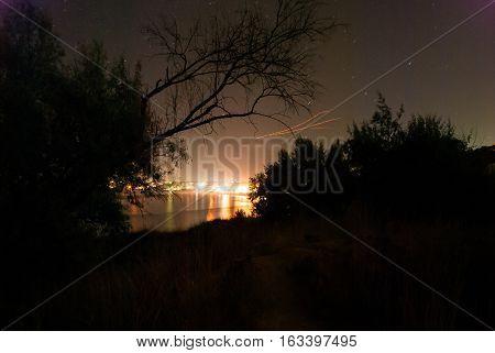 Night landscape on the shores of the Black Sea, Sevastopol