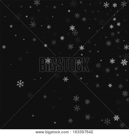 Sparse Snowfall. Random Gradient Scatter On Black Background. Vector Illustration.