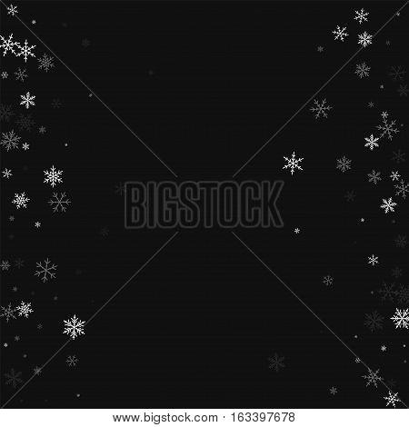 Sparse Snowfall. Scattered Frame On Black Background. Vector Illustration.