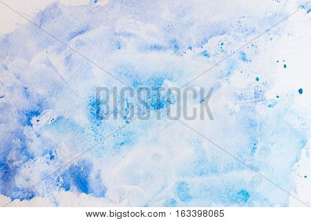 Colorful shades of blue. Abstract watercolor background and texture