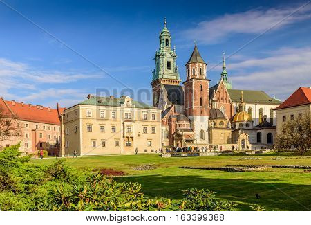 Cathedral of St. Stanislaw and St. Vaclav and royal castle on the Wawel Hill in the sunny day, Krakow, Poland.