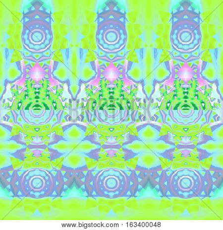Abstract geometric background. Regular concentric circle ornaments in purple, turquoise blue and lemon lime green shades with elements in pink and violet, conspicuous and dreamy.