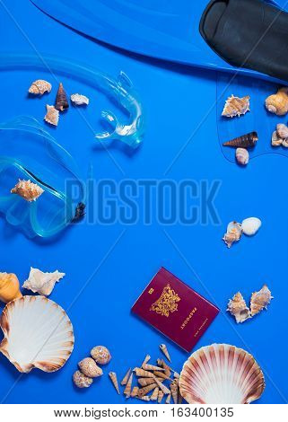 Preparation for a travel, diving, flip, flops,  happy, holiday, icons,  island, mask,message,  ocean, paradise, passport, relaxation