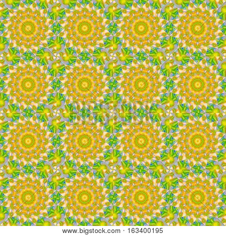 Geometric seamless background, abstract round blossoms. Regular concentric circle ornaments in yellow, orange and pink shades with lime green and light blue elements, ornate and dreamy.