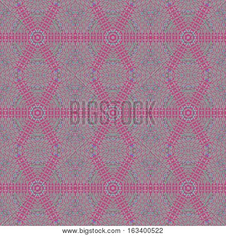 Abstract geometric seamless background. Regular hexagon and diamond pattern gray with violet elements, extensive netting.