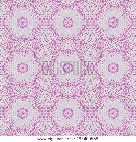 Abstract geometric seamless background. Regular hexagon pattern light gray with elements in pink and violet, delicate and extensive.