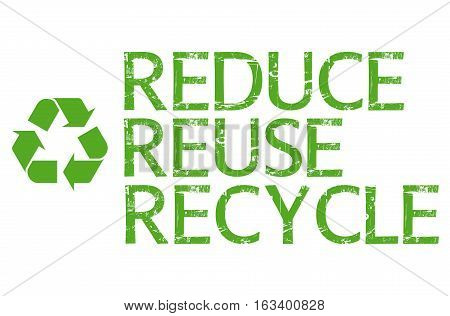 Reduce, reuse, recycle illustration with a white background