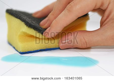 Woman Hand With Cleaning Sponge And Blue Liquid.