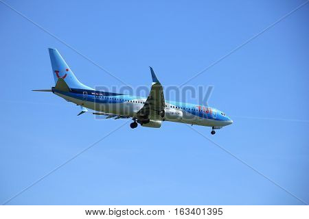 Amsterdam the Netherlands - May 5th 2016: PH-TFC TUI Airlines Netherlands Boeing 737 approaching Schiphol Polderbaan runway arriving from Funchal Amsterdam