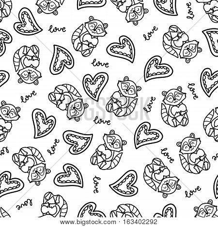 Doodles cute romantic seamless pattern. Black vector background. Illustration with hearts and raccoons. Design for T-shirt, textile and prints.
