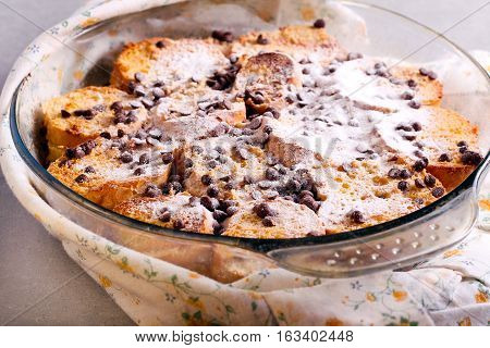 Bread pudding with cream filling and chocolate chips