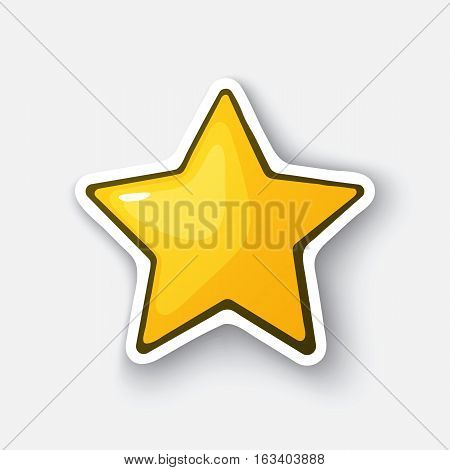 Vector illustration. Gold star. Yellow star. Winner sign. Favorite symbol. Cartoon funny sticker in comic style with contour. Decoration for greeting cards, posters, patches and prints for clothes, flyers, emblems