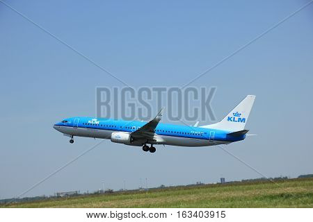 Amsterdam The Netherlands - June 12 2015: PH-BCE KLM Royal Dutch Airlines Boeing 737-800 takes of from Amsterdam Airport Polderbaan runway.