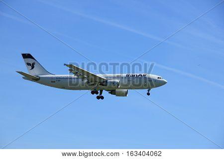 Amsterdam the Netherlands - May 5th 2016: EP-IBB Iran Air Airbus A300B4 approaching Schiphol Polderbaan runway arriving from Tehran Iran