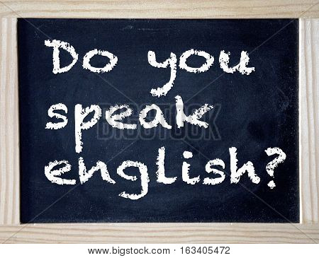 black chalkboard with the question Do you speak english