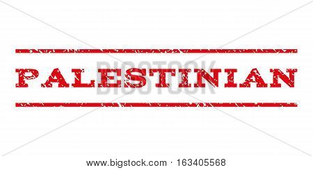 Palestinian watermark stamp. Text caption between horizontal parallel lines with grunge design style. Rubber seal stamp with dust texture. Vector intensive red color ink imprint on a white background.