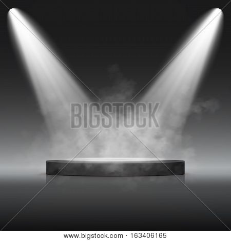 Illuminated Festive Stage Podium Scene for Award Ceremony. Vector illustration