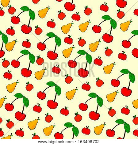 Seamless Pattern Of Fruit On Yellow Background Illustration
