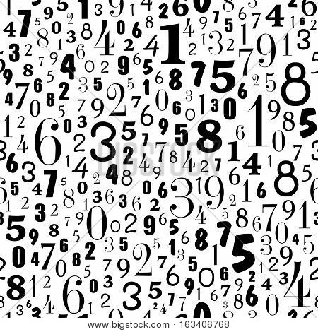 Seamless Pattern Of Number On White Background