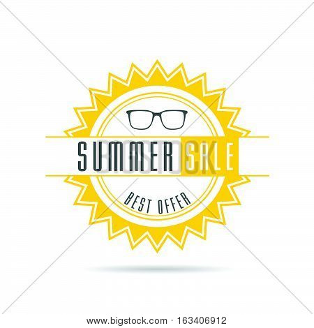 Summer Sale With Sun In Color Design Illustration