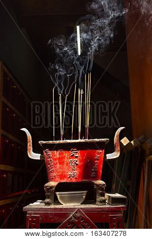 Incense sticks for traditional spiritual Buddhist burning in Vietnam