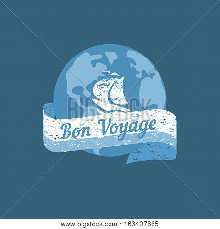 Travel nautical icon have nice trip in French letters Bon Voyage. Vintage retro poster concept. Globe steering helm stamp. Design idea cruise ship tour emblem. Vector advertisement label background