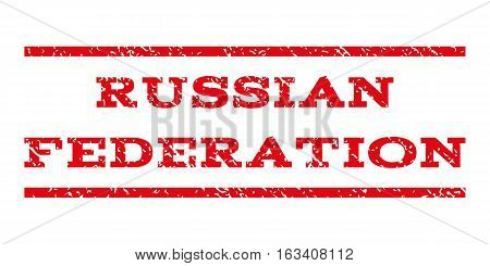 Russian Federation watermark stamp. Text tag between horizontal parallel lines with grunge design style. Rubber seal stamp with unclean texture.