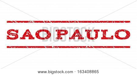 Sao Paulo watermark stamp. Text caption between horizontal parallel lines with grunge design style. Rubber seal stamp with unclean texture.
