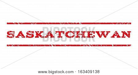 Saskatchewan watermark stamp. Text caption between horizontal parallel lines with grunge design style. Rubber seal stamp with dust texture.