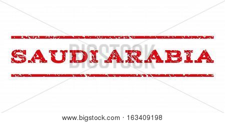 Saudi Arabia watermark stamp. Text tag between horizontal parallel lines with grunge design style. Rubber seal stamp with dirty texture. Vector intensive red color ink imprint on a white background.