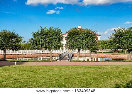 Palace Marli in Petergof Lower Park near a pond - Russia