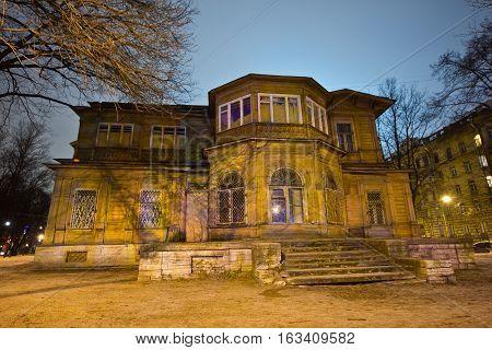 Old wooden manor Gromov's mansion in Saint Petersburg