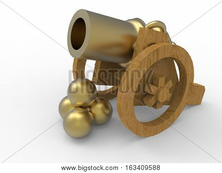 3d illustration of golden toy gun. white background isolated. icon for game web.
