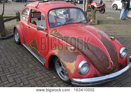 26TH DECEMBER 2016,WICKHAM,HANTS: An old retro classic beetle car at a show in portsmouth, england on the 26th