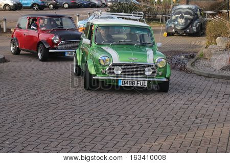26TH DECEMBER 2016,WICKHAM,HANTS: Old retro classic mini cars at a show in portsmouth, england on the 26th december 2016