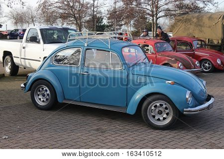 26TH DECEMBER 2016,PORTSMOUTH,HANTS: An old retro classic beetle car at a show in portsmouth, england on the 26th