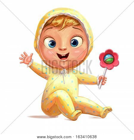Funny baby with a rattle. Congratulations on the birth of a child. Funny cartoon character. Isolated on white background