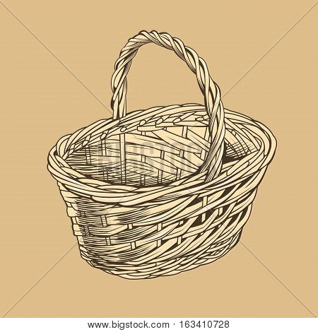 Vintage basket in woodcut style, vector illustration.
