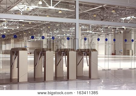 New electronic access security control system in large industrial building hall