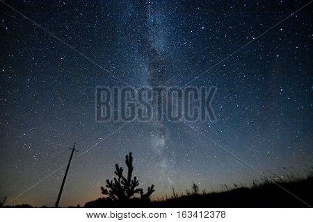 Milky Way. Beautiful summer night sky with stars in Belarus