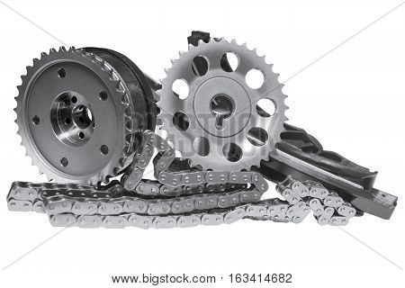 timing mechanism of the engine on a white background