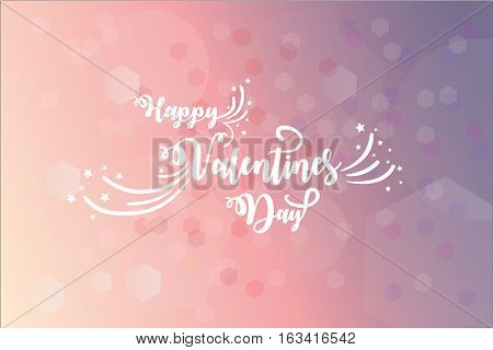 Card with Valentines day wishes over blury flared pink background. Vector illustration