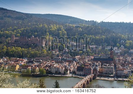 HEIDELBERG, GERMANY - MAR 29, 2014: Panorama of Heidelberg in Spring, Southern Germany.