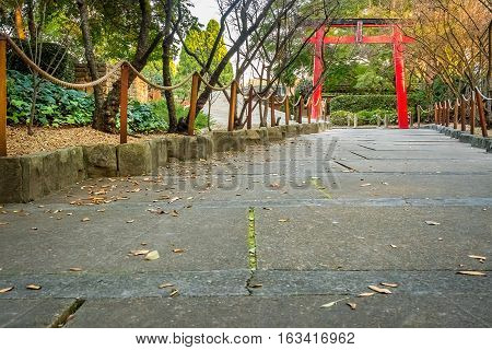 Sydney, Australia - May 22, 2016: At the popular Auburn Botanic Gardens, Japanese Zen Gardens section featuring the Ryoan-ji style designs.