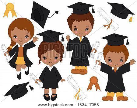 Vector African American happy little kids graduating