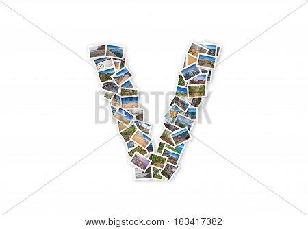 Letter V uppercase font shape alphabet collage made of my best landscape photographs. Version 1.