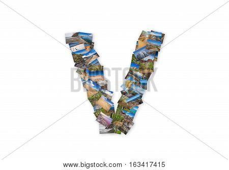Letter V uppercase font shape alphabet collage made of my best landscape photographs. Version 3.