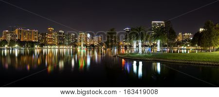 Orlando, Florida, USA, downtown city skyline panorama from Eola Park