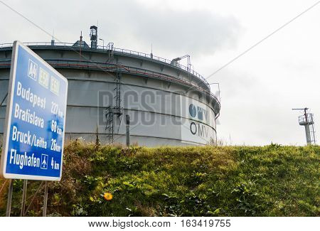 WIEN AUSTRIA - SEP 30 2014: Large petroleum container with OMW - Budapest Bratislava Airport oil refinery