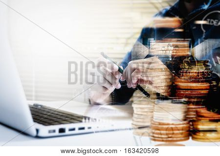 Double Exposure Of Businesswoman Thinking And Working On A Laptop Computer While Enjoying And Networ